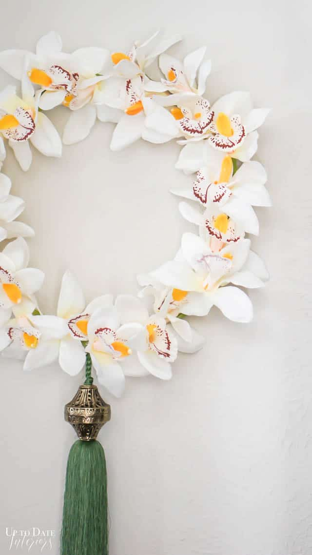 DIY Embroidery Hoop Wreath with Orchids and Green Tassel