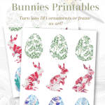 Eggs Bunnies Floral Printable Pinterest Green