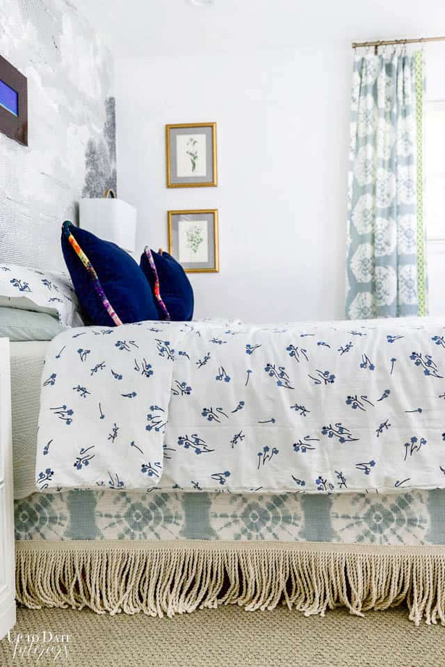 Diy Bedskirt in shibori fabric and fringe with blue and white bedding
