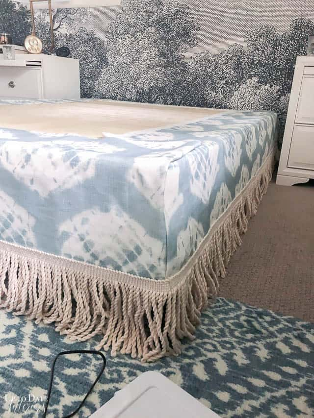 how to put on a bedskirt with pins and folds