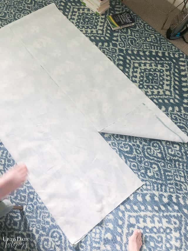 Bed skirt fabric cut and ready to assemble