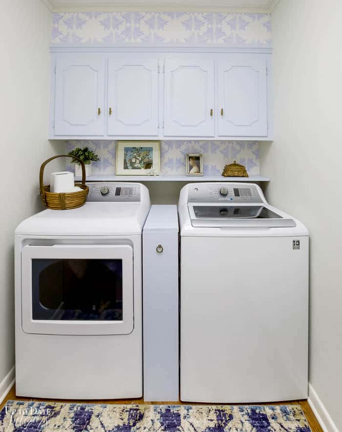 Diy Laundry Room Makeover with French Decor in soft blue and white Edited 2