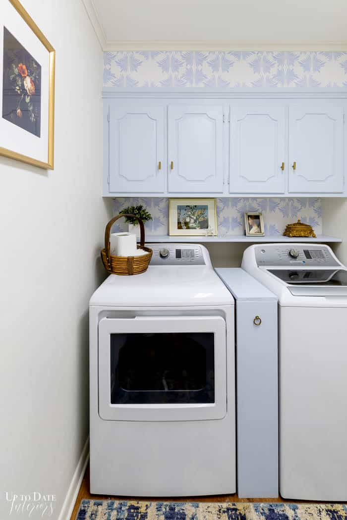 Diy Laundry Room Makeover on a budget with french blue cabinets and wallpaper Edited