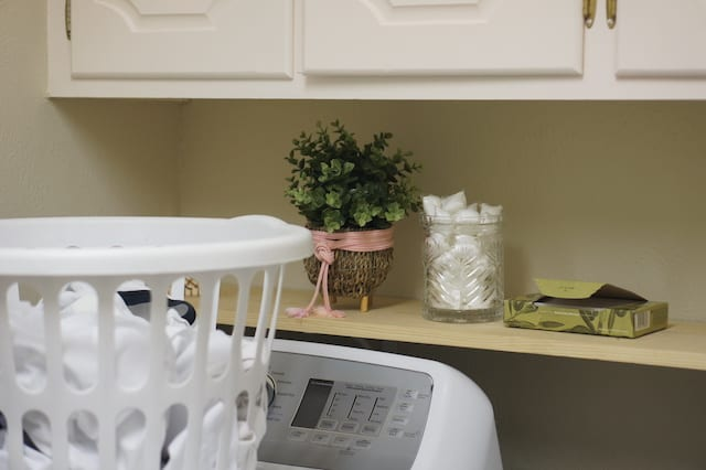 diy pine wood shelf for behind the washer and dryer