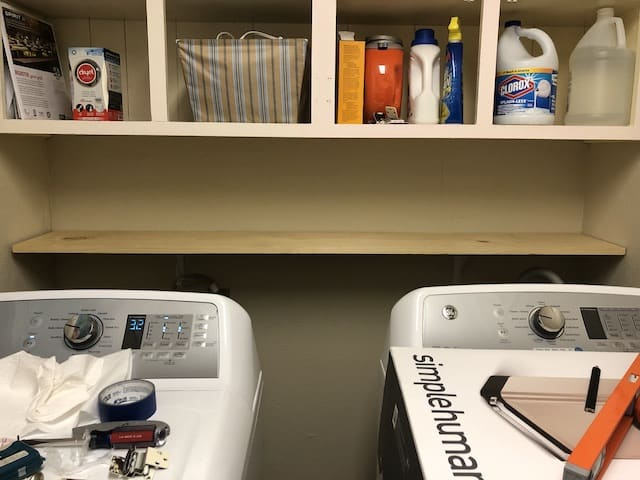 DIY shelf above washer and dryer