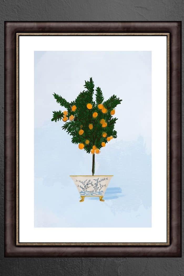 Mikan Tree Framed Chinoiserie Art Print 5x7