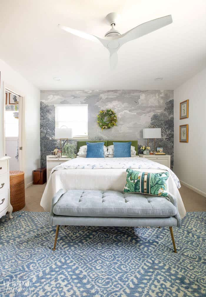 Summer Bedroom Decorating With Green and blue full view of room with velvet headboard and mural