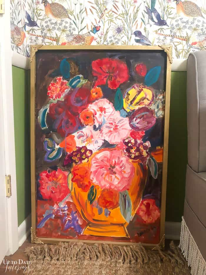 Large floral painting in gold frame