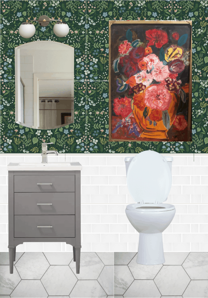 Bathroom Mockup with green floral wallpaper and marble with green and white tiles