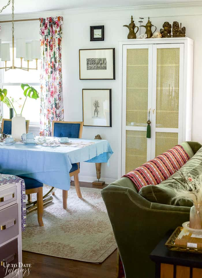 Living And Dining Rooms Divided by Rattan Cabinet