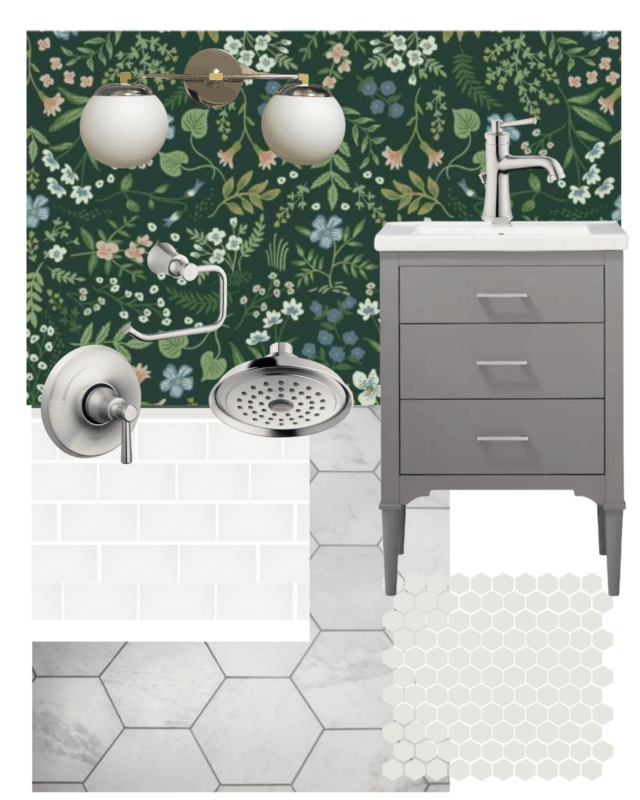 Bathroom Mood Board featuring grey and white tile and floral wallpaper.